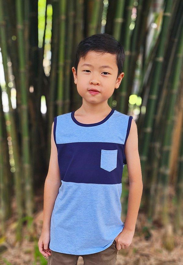 Colour Block Pocket Singlet BABYBLUE (Boy's Singlet)