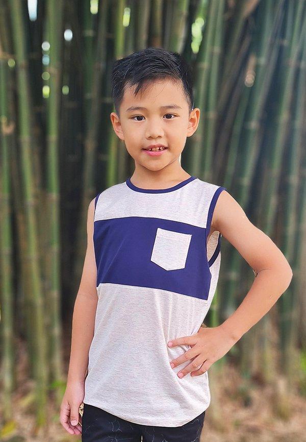 Colour Block Pocket Singlet LIGHT PINK (Boy's Singlet)
