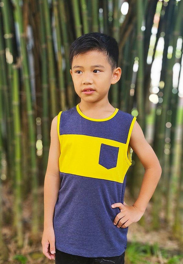 Colour Block Pocket Singlet NAVY (Boy's Singlet)
