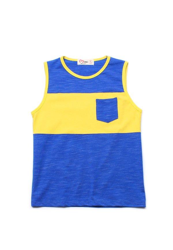 Colour Block Pocket Singlet BLUE (Boy's Singlet)