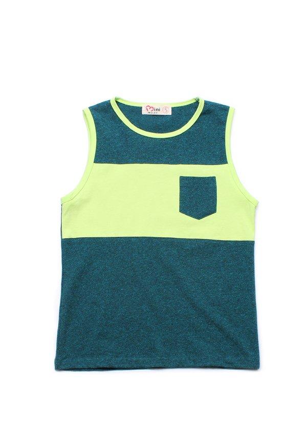 Colour Block Pocket Singlet GREEN (Boy's Singlet)
