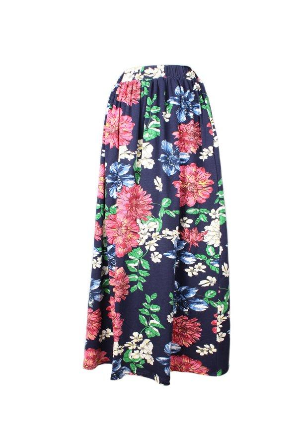 Floral Print 2 way Midi Skirt NAVY (Ladies' Bottom)