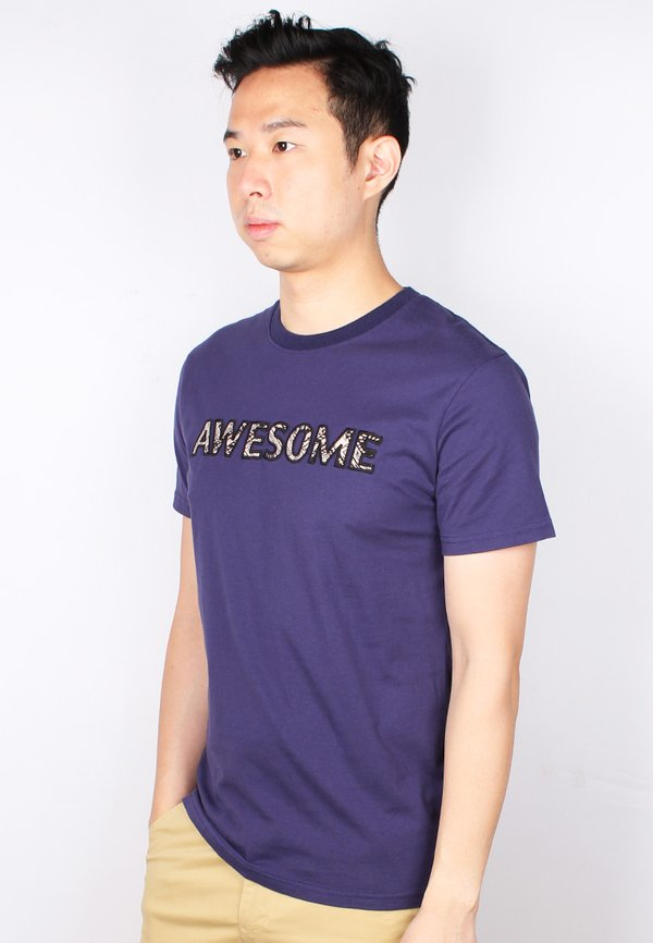 Aztec AWESOME Embroidery T-Shirt NAVY (Men's T-Shirt)
