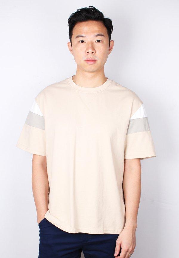 Colour Block Oversized T-Shirt KHAKI (Men's T-Shirt)