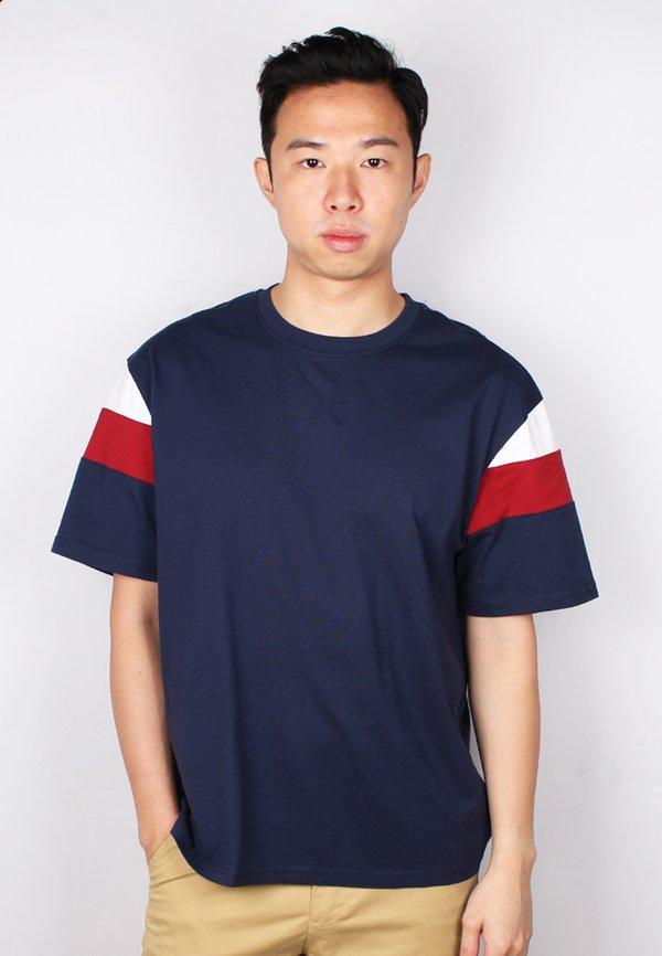 Colour Block Oversized T-Shirt NAVY (Men's T-Shirt)