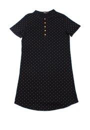Polka Dots Print Polo Shift Dress BLACK (Ladies' Dress)