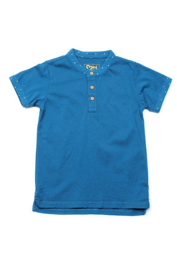 Polka Dots Trims Polo T-Shirt BLUE (Boy's T-Shirt)