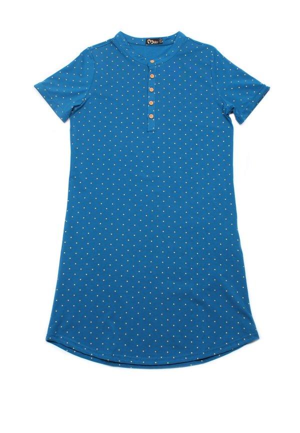 Polka Dots Print Polo Shift Dress BLUE (Ladies' Dress)