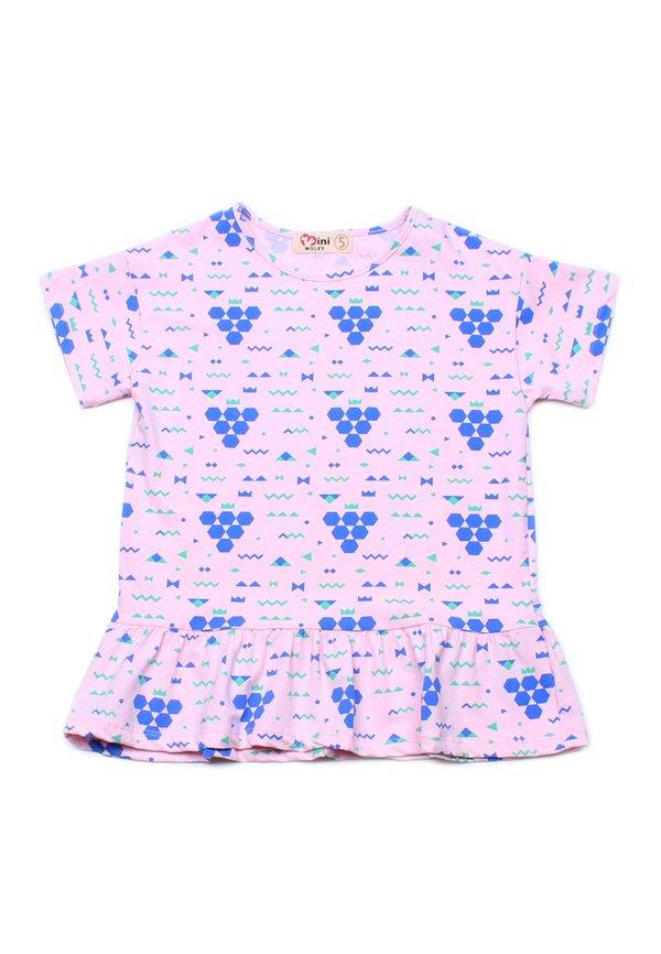 Geometric Grapes Print Frill T-Shirt PINK (Girl's Top)