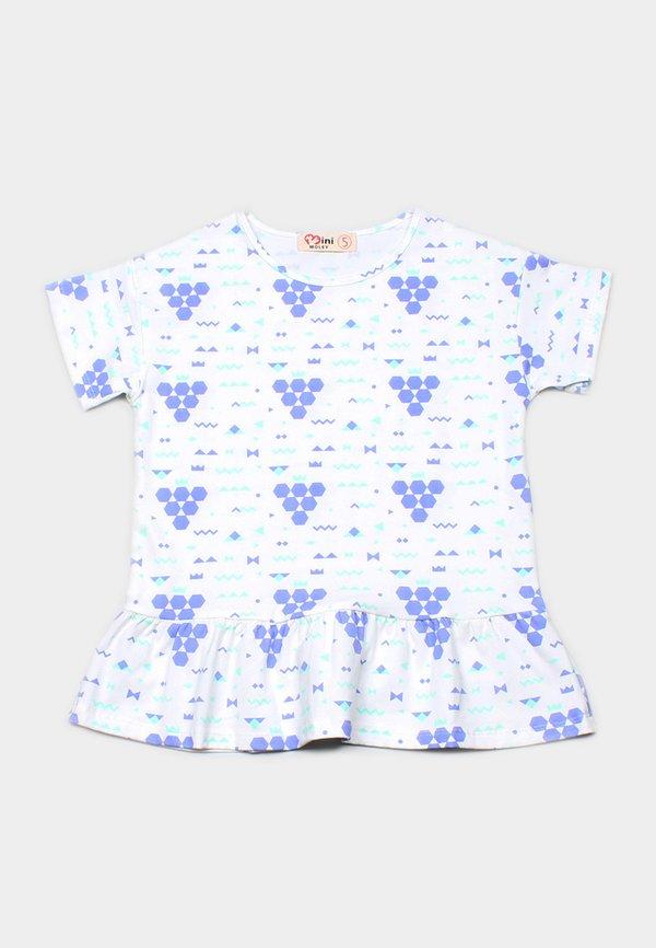 Geometric Grapes Print Frill T-Shirt WHITE (Girl's Top)