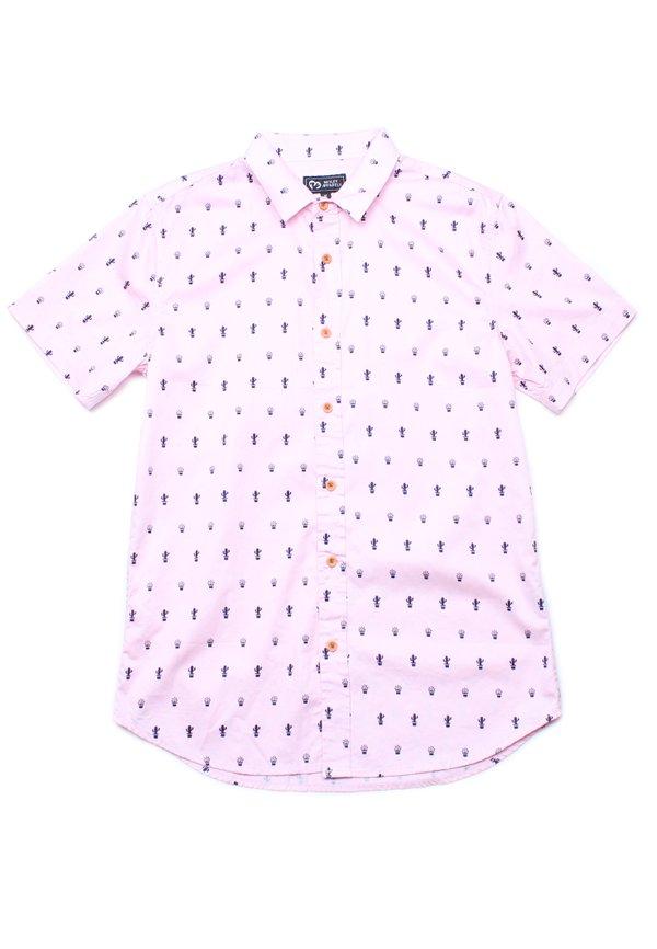 Cactus Print Short Sleeve Shirt PINK (Men's Shirt)